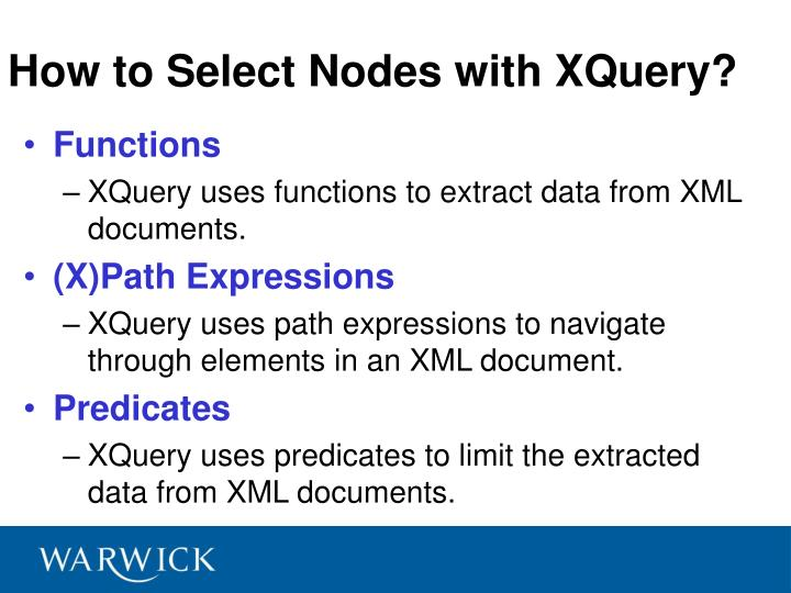 How to Select Nodes with XQuery?