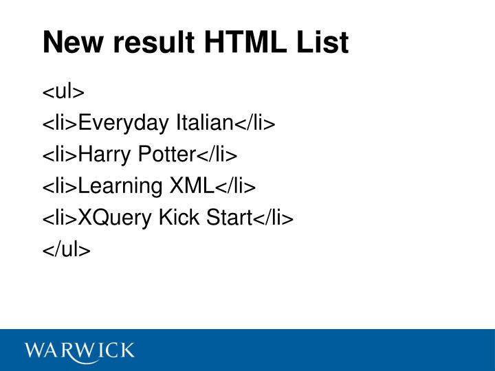 New result HTML List