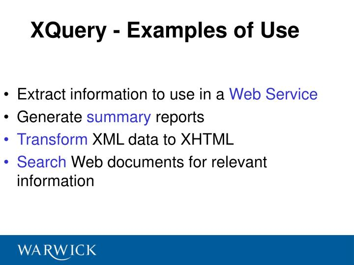 XQuery - Examples of Use