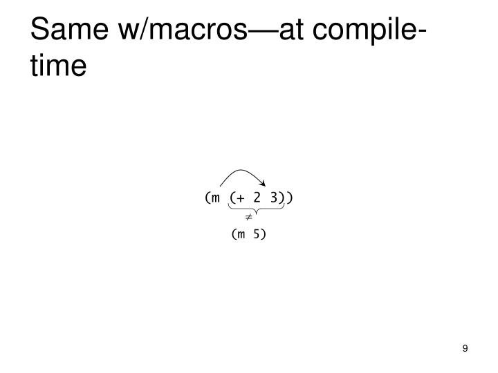 Same w/macros—at compile-time