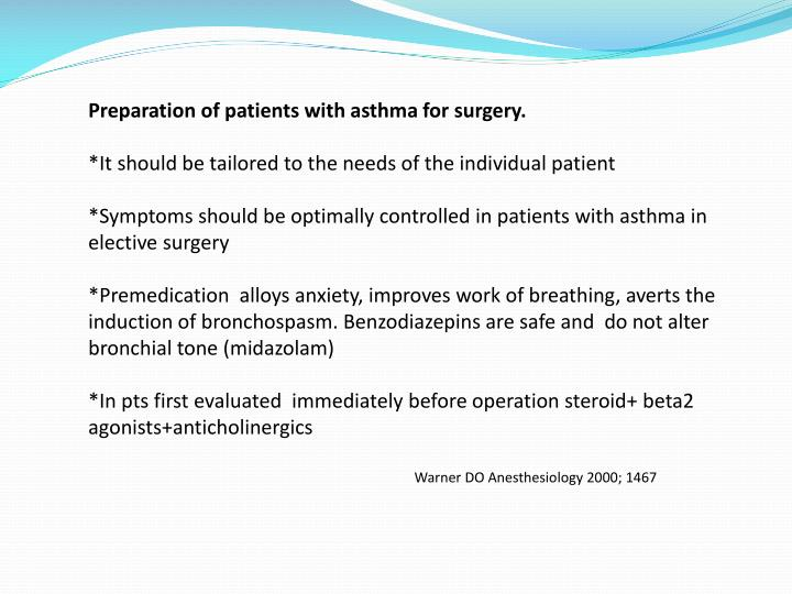 Preparation of patients with asthma for surgery.