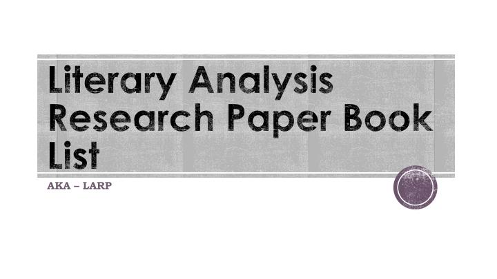 literary analysis research paper book list n.