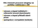 vliv innosti pracovn skupiny na politiku vzd l v n v r