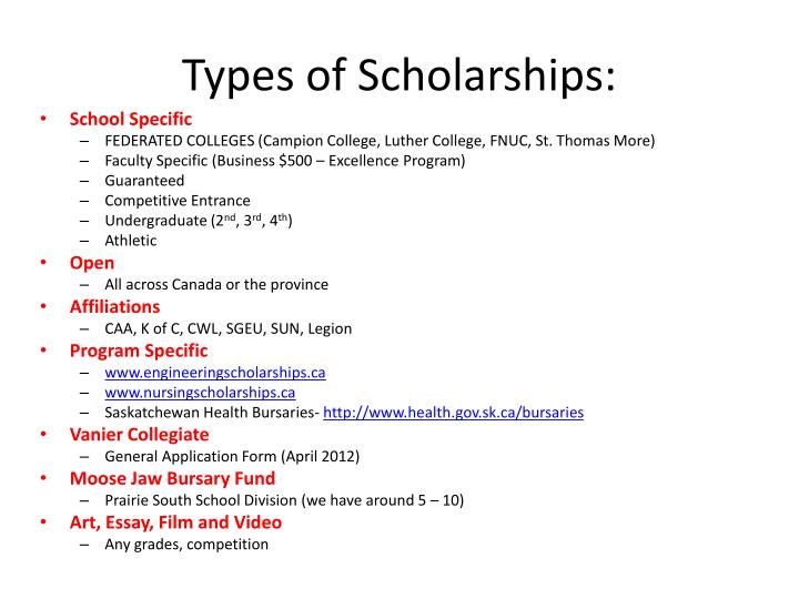 Types of Scholarships: