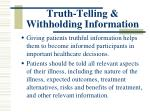 truth telling withholding information1