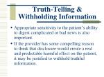 truth telling withholding information2