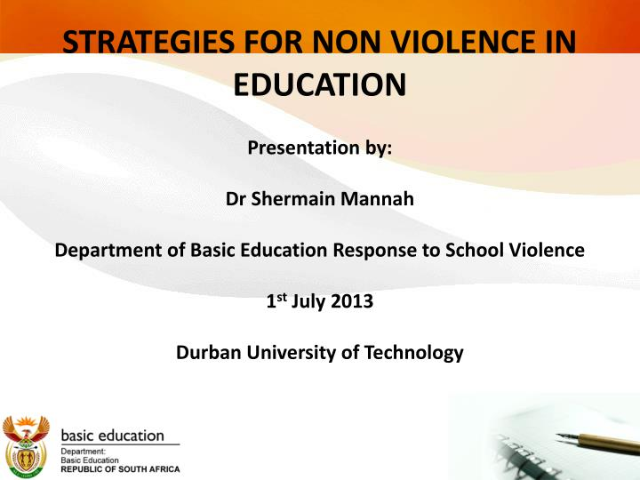 strategies for non violence in education n.