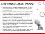 repatriation cultural training