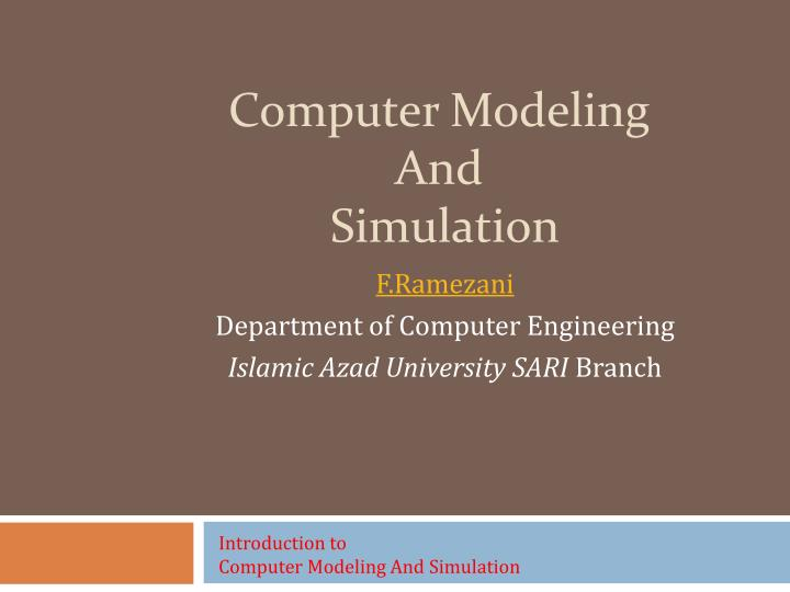 computer modeling and simulation n.