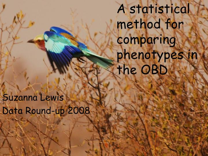 a statistical method for comparing phenotypes in the obd n.