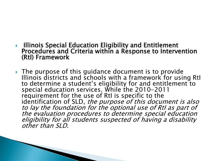 Illinois Special Education Eligibility and Entitlement Procedures and Criteria within a Response to Intervention (