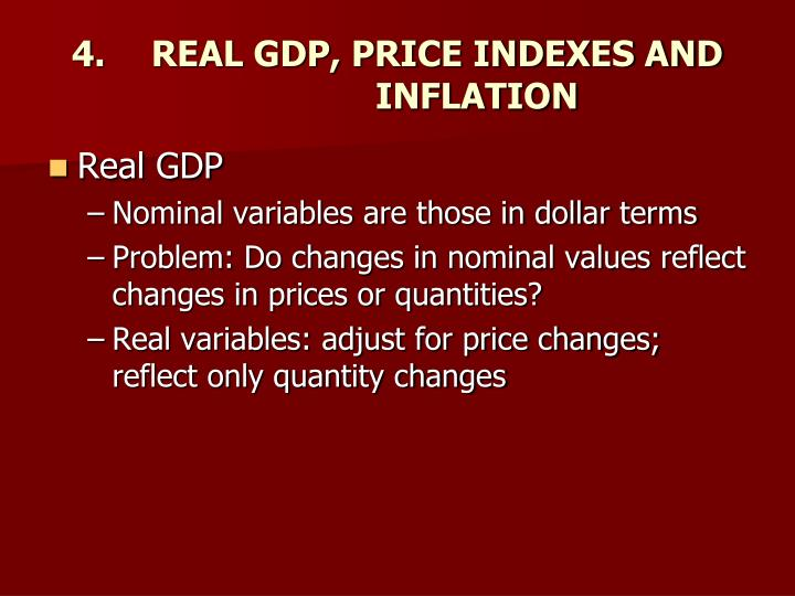 4.	REAL GDP, PRICE INDEXES AND		INFLATION