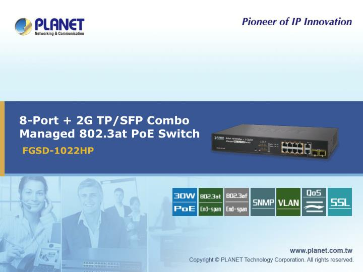 8 port 2g tp sfp combo managed 802 3at poe switch n.