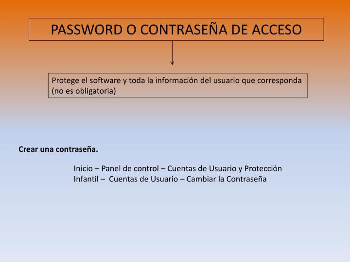 PASSWORD O CONTRASEÑA DE ACCESO