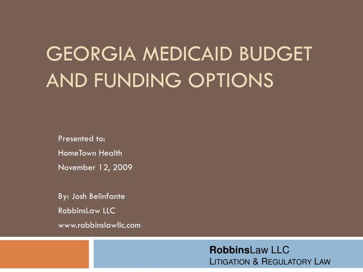georgia medicaid budget and funding options n.