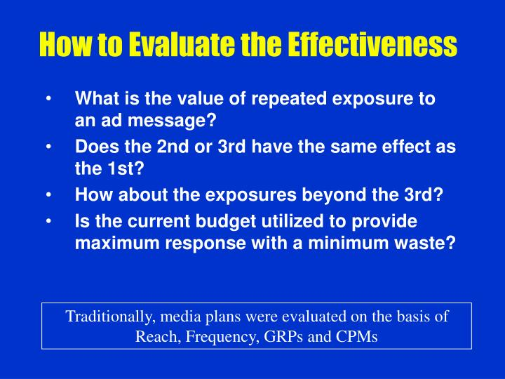 How to Evaluate the Effectiveness