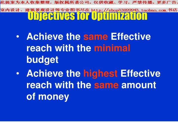 Objectives for Optimization