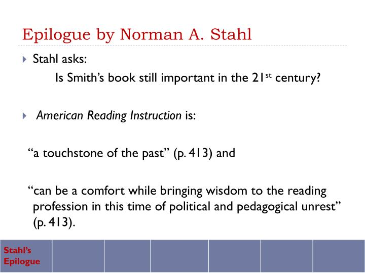 Epilogue by norman a stahl