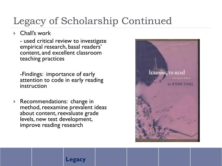 Legacy of Scholarship Continued
