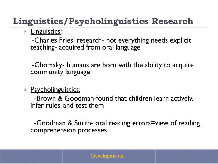 Linguistics/Psycholinguistics Research