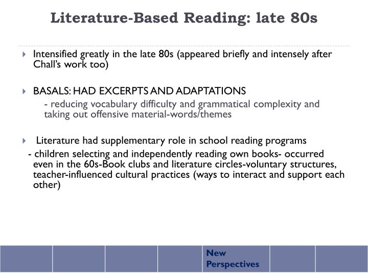 Literature-Based Reading: late 80s