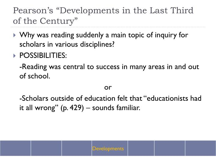 """Pearson's """"Developments in the Last Third of the Century"""""""