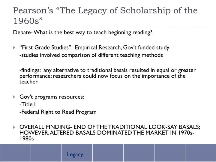 """Pearson's """"The Legacy of Scholarship of the 1960s"""""""