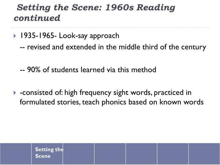 Setting the Scene: 1960s Reading continued