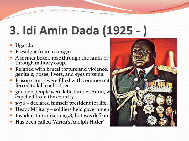 idi amin essays Kill one person, you go to prison kill 20, you go to an insane asylum kill ten thousand, and you get invited to a peace conference idi amin at death's door : despots should not rest in peace despots live happily it is not just idi amin.