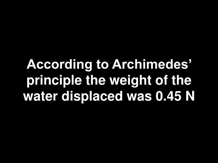 According to Archimedes' principle the weight of the water displaced was 0.45 N