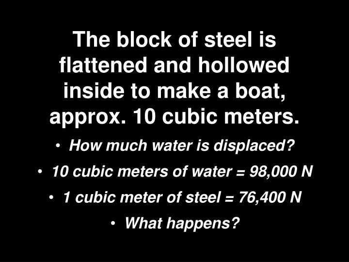 The block of steel is flattened and hollowed inside to make a boat, approx. 10 cubic meters.