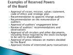 examples of reserved powers of the board