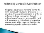 redefining corporate governance