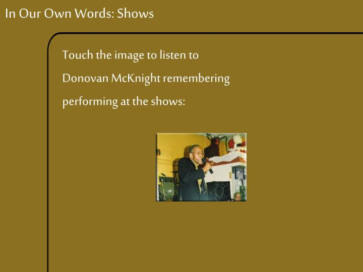 in our own words shows n.