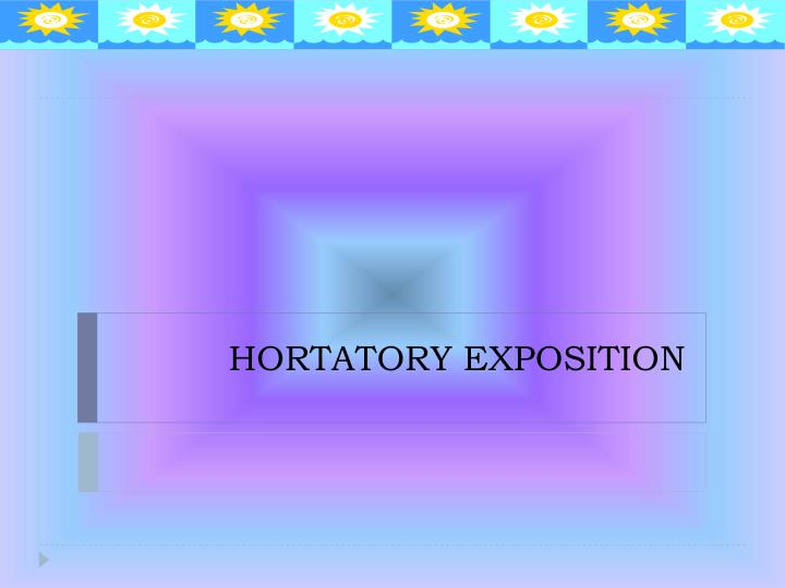 social function of hortatory exposition