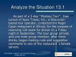 analyze the situation 13 1