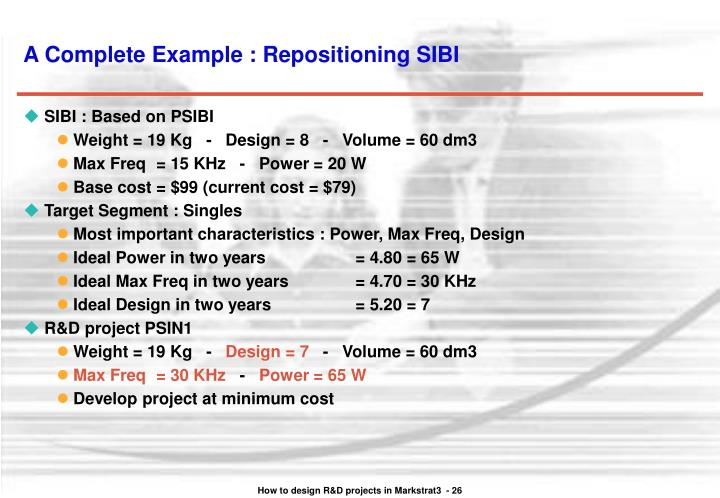 A Complete Example : Repositioning SIBI