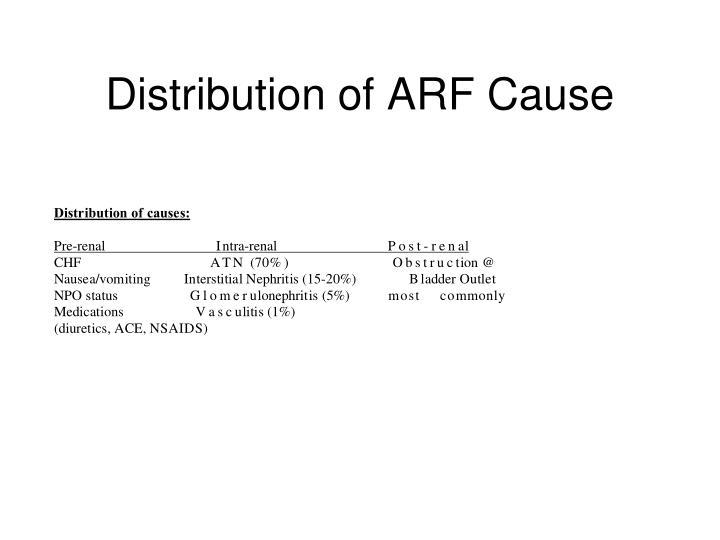 Distribution of ARF Cause