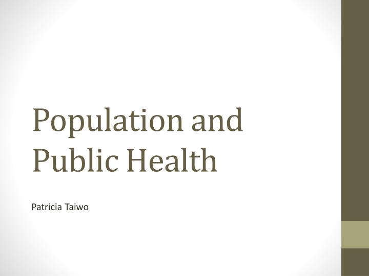 population and public health n.