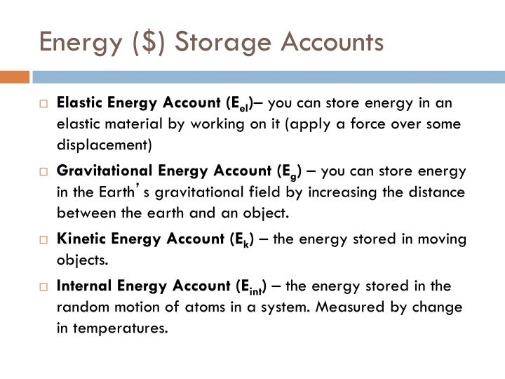 Energy ($) Storage Accounts