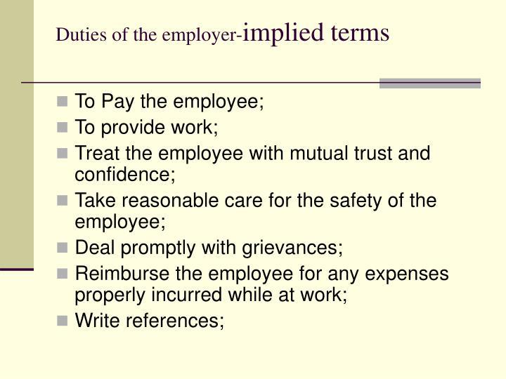 Duties of the employer-