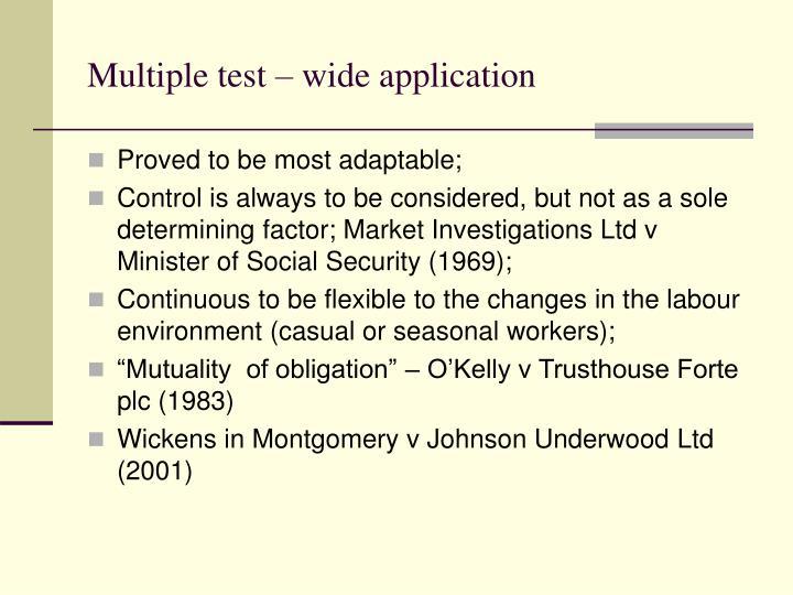 Multiple test – wide application