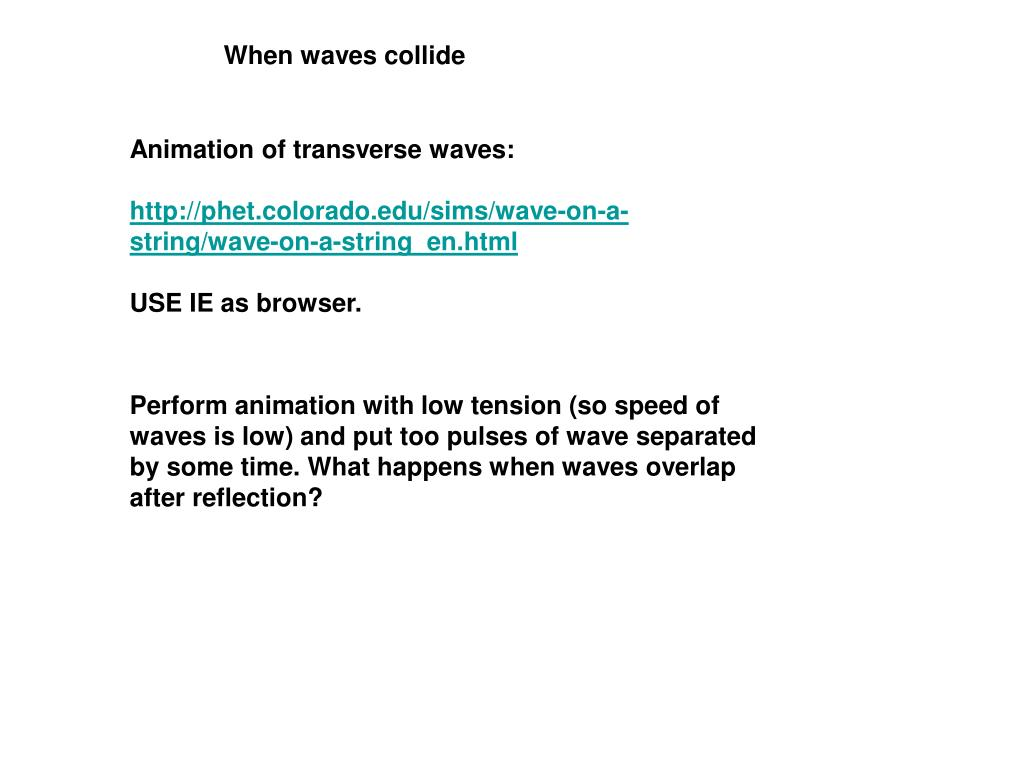 PPT - Animation of transverse waves: PowerPoint Presentation