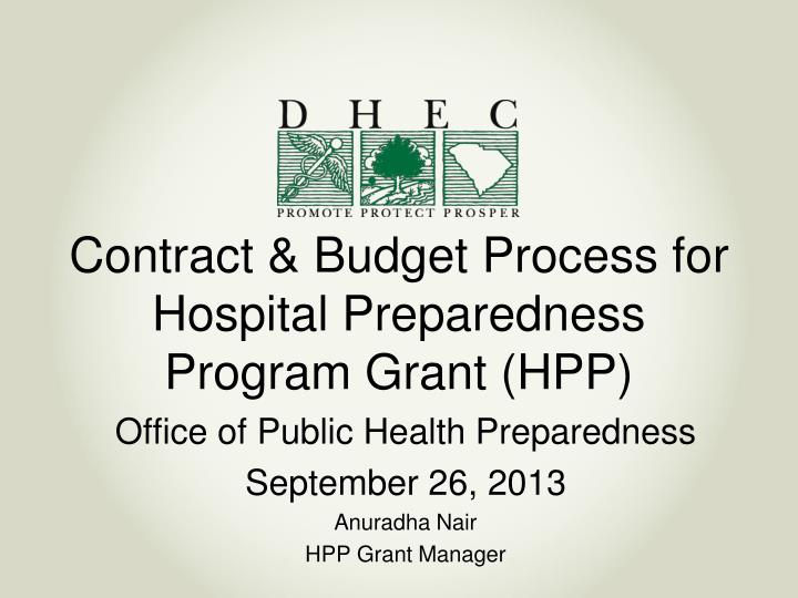 contract budget process for hospital preparedness program grant hpp n.