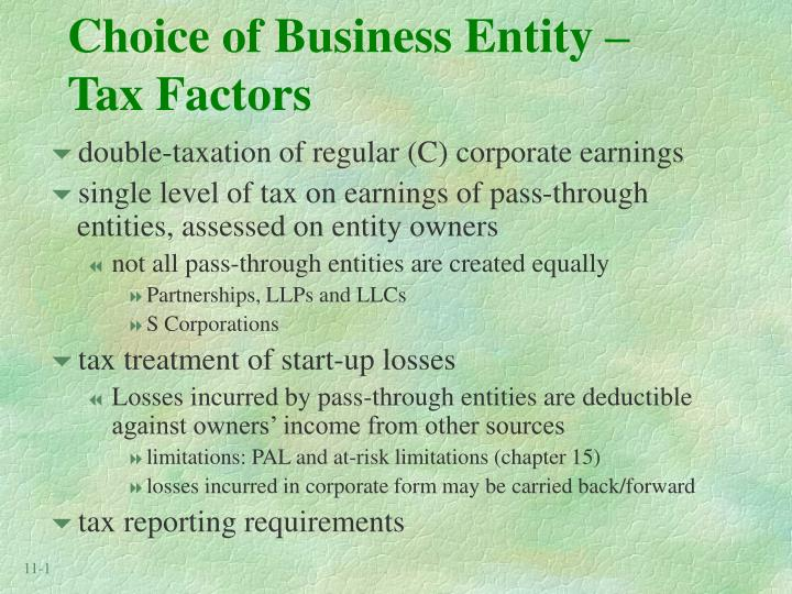 choice of business entity tax factors n.