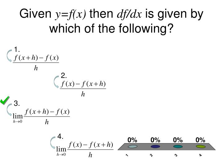 given y f x then df dx is given by which of the following n.