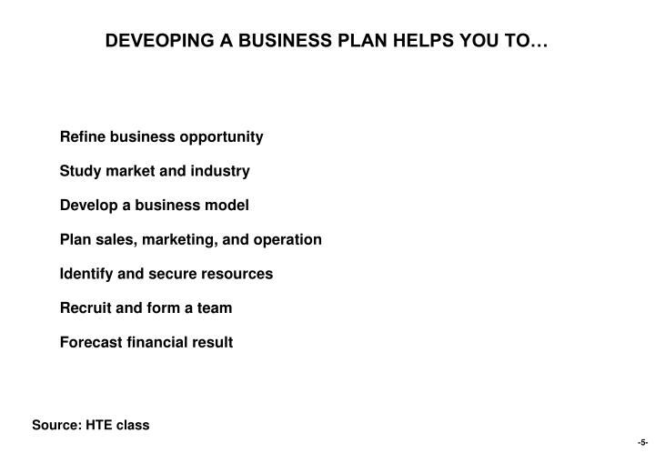 DEVEOPING A BUSINESS PLAN HELPS YOU TO…