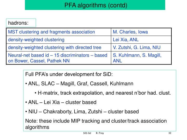 PFA algorithms (contd)