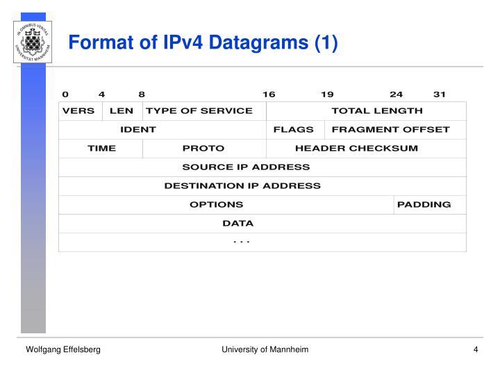 Format of IPv4 Datagrams (1)