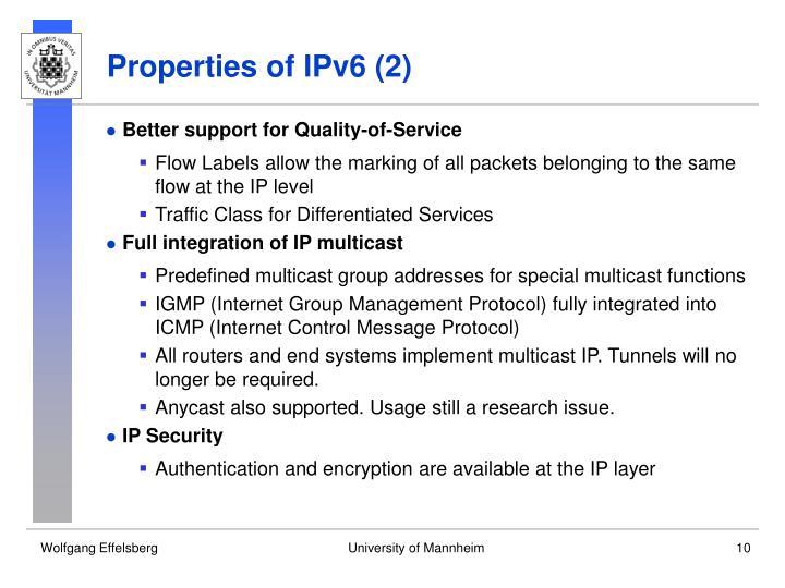 Properties of IPv6 (2)